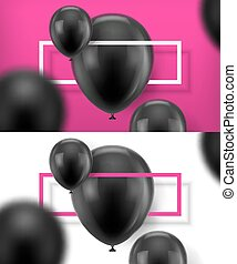 Black baloons vector. Two banners with black realistic...