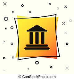 Black Bank building icon isolated on white background. Yellow square button. Vector Illustration