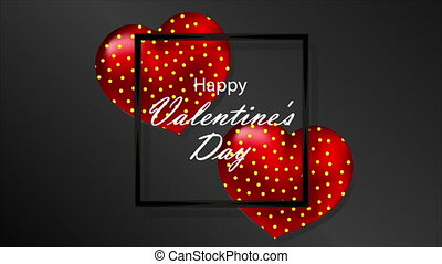 Black banner greeting card happy valentines day, art video illustration.