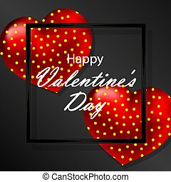 black banner greeting card happy valentines day