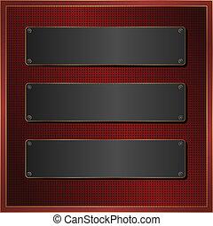 black banner - dark red pattern with three black banner