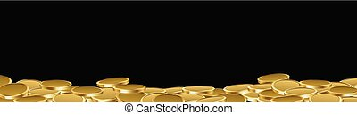 Black banner with gold coins.