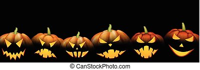 Black banner with orange halloween pumpkins.