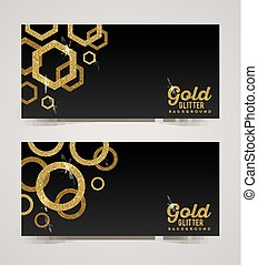 Black banners with golden elements