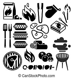 Black barbecue, food flyer, BBQ vector icons