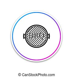 Black Barbecue grill icon isolated on white background. Top view of BBQ grill. Circle white button. Vector Illustration
