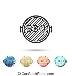 Black Barbecue grill icon isolated on white background. Top view of BBQ grill. Color set icons. Vector Illustration