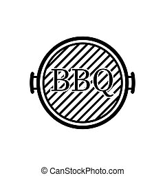 Black Barbecue grill icon isolated on white background. Top view of BBQ grill. Vector Illustration