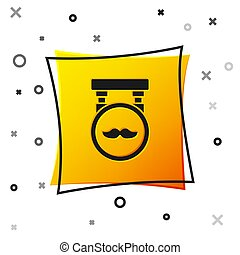 Black Barbershop icon isolated on white background. Hairdresser logo or signboard. Yellow square button. Vector Illustration