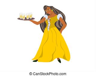 black barmaid - editable eps vector format, black female...