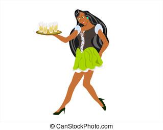 black barmaid short skirt - editable eps vector format,...