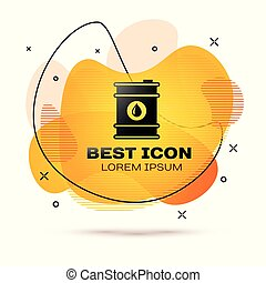 Black Barrel oil icon isolated on white background. Fluid color banner. Vector Illustration