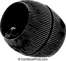 black barrel on white background