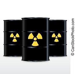 Black Barrel With Yellow Radioactive Symbol, Isolated On White Background