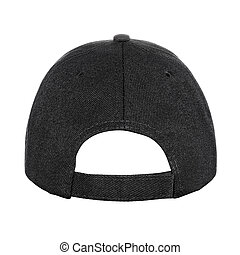 Black baseball cap back view isolated