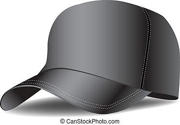 black baseball cap vector illustration. Isolate. Hat.