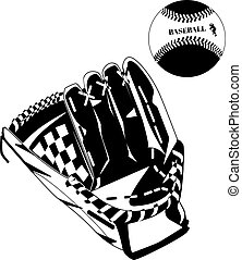 Black baseball glove and ball vector illustration