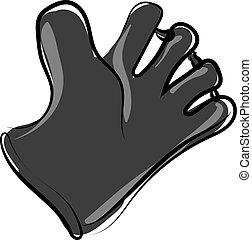 Black baseball glove, illustration, vector on white background.