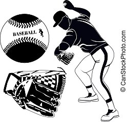 Black baseball pitcher, glove and ball vector illustration