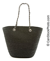 Black basket tote with chain and leather handle isolted on white background.