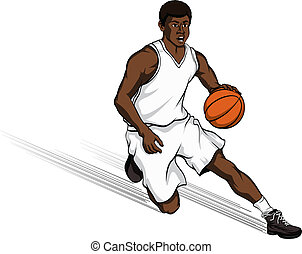 Black Basketball Player Cutting to Basket