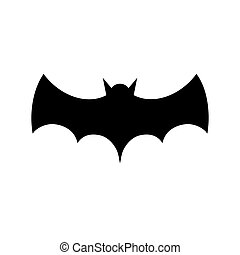Black bat silhouette isolated on white background