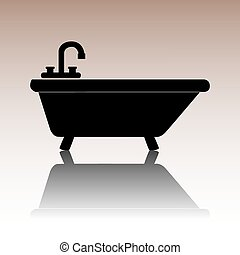 Black Bathtub Icon