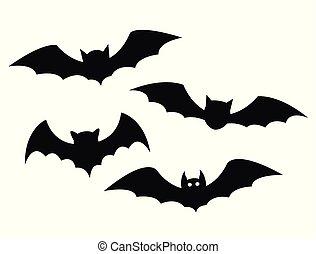 Black bats set on a white background
