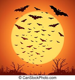 Black bats silhouettes on big yellow moon at orange...