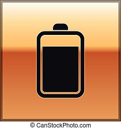 Black Battery icon isolated on gold background. Vector Illustration