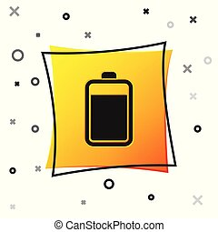 Black Battery icon isolated on white background. Yellow square button. Vector Illustration