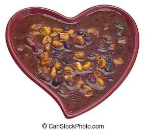 Black Bean Dip in a Heart Shaped Bowl