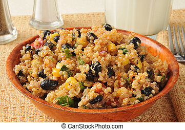 Black bean quinoa salad - A bowl of black bean and quinoa...