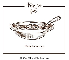 Black bean soup sketch vector icon for Mexican cuisine food menu design