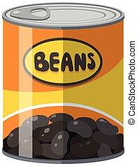 Black beans in aluminum can