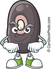 Black beans mascot cartoon character style with Smirking face