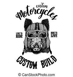 Black bear Biker, motorcycle animal. Hand drawn image for...
