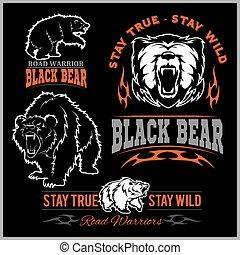 black bear for logo, sport team emblem, design elements and labels