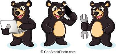 Black Bear Mascot with phone