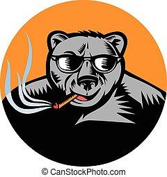 Black Bear Sunglasses Cigar Circle Woodcut