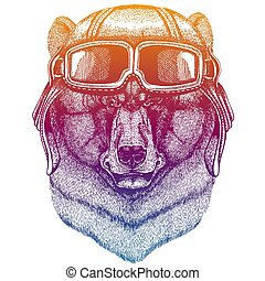 Black bear wearing vintage aviator leather helmet. Image in retro style. Flying club or motorcycle biker emblem. Vector illustration, print for tee shirt, badge logo patch