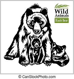 Black Bear with a baby - vector illustration in realistic style