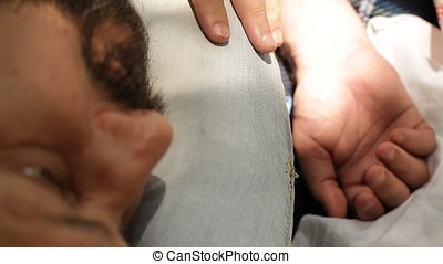 Black Bearded Beauty Portrait with Hand