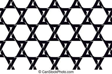Black, beautiful stars of David made of black camera diaphragms, seamless texture. Pattern. Vector illustration.