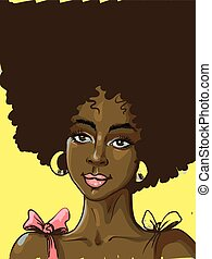 Black beautiful woman with big curly hair pink colored lips in earrings with slight smile vector illustration , can be used for creating poster with text on her hair