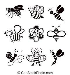 Black bee icons