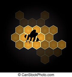 black bee symbol and colorful honeycomb design element eps10