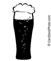 black beer glass