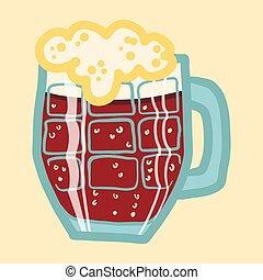 Black beer mug icon, hand drawn style