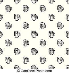 Black beer mug pattern seamless